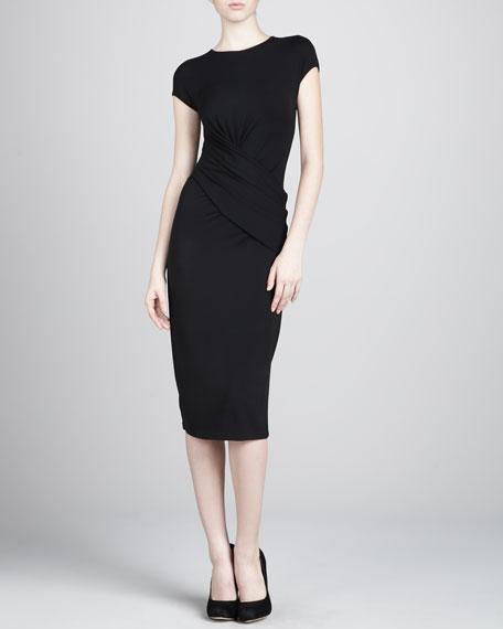 Crewneck Wrap Jersey Dress, Black