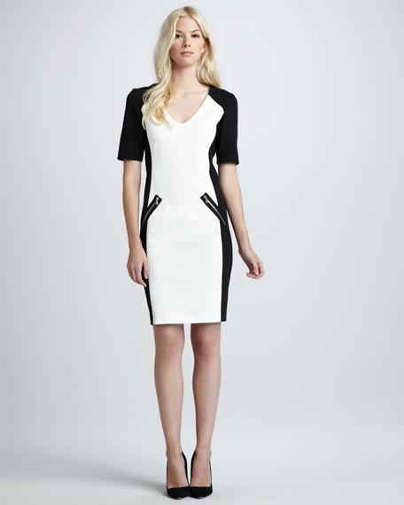 Two-Tone Ponte Dress