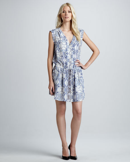 Snake-Print Drawstring Dress