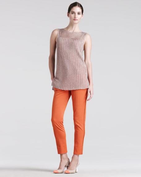 Skinny Compact-Canvas Pants, Orange