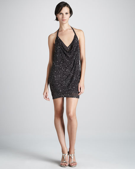 Sequined Halter Dress