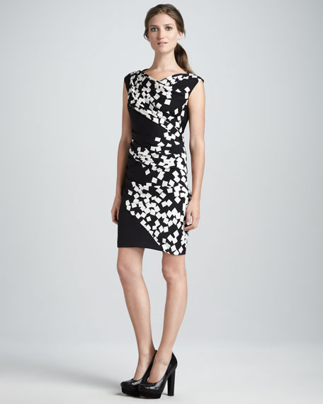 Ameerah Ruched Square-Print Dress