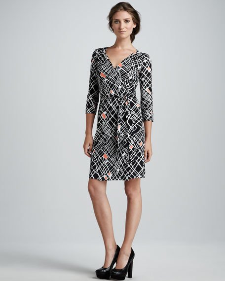 Julian Two Wrap Dress, Cable Squares