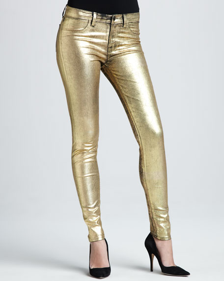 801 Coated Metallic Gold Skinny Jeans