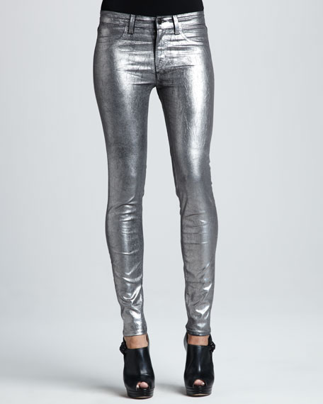 801 Coated Metallic Silver Skinny Jeans