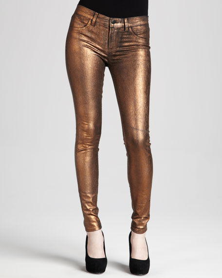 801 Coated Metallic Bronze Skinny Jeans