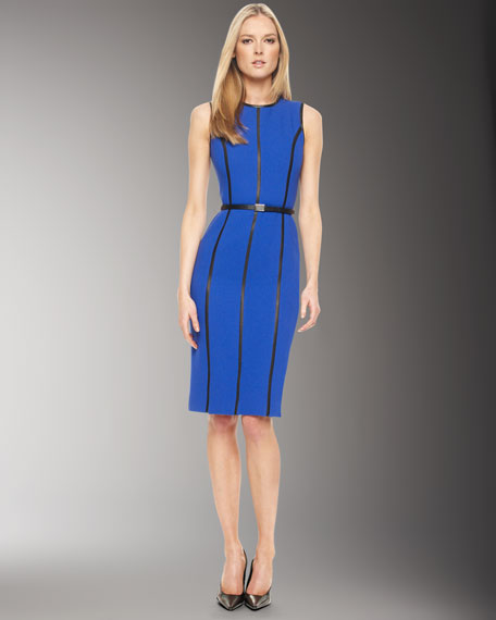 Leather-Insert Dress, Cobalt