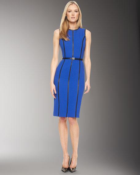Leather-Insert Dress, Cobalt