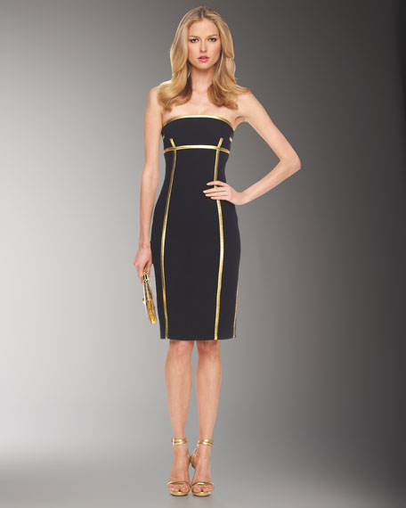 Leather-Piped Strapless Dress