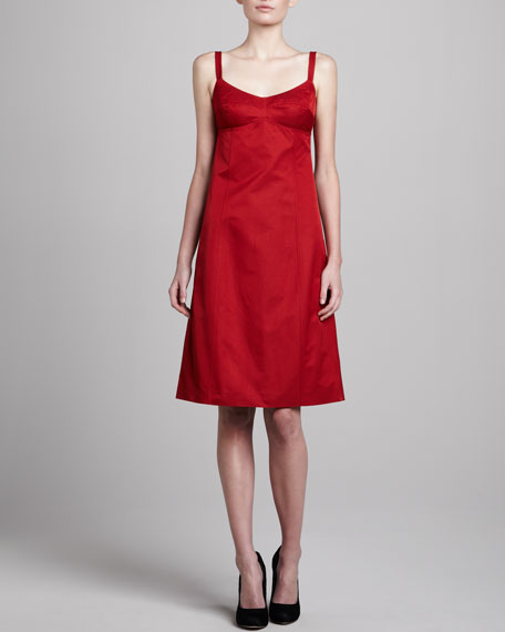 Sleeveless A-Line Dress, Crimson