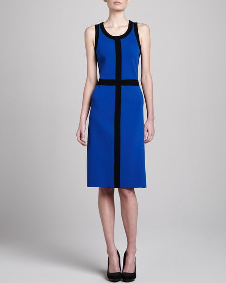 Contrast-Trim Dress, Black/Cobalt