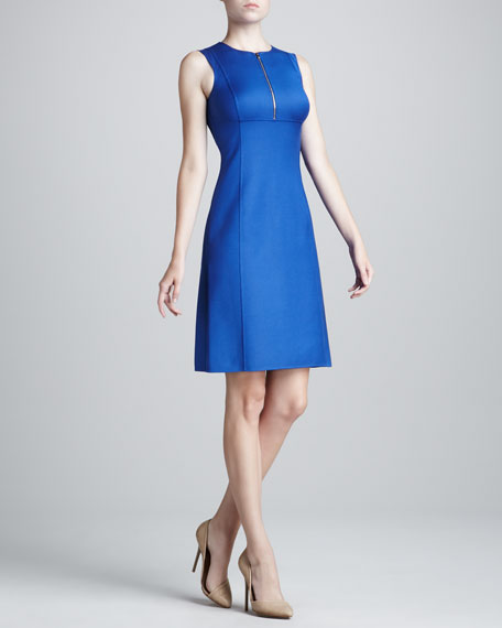 Sateen Zip-Shift Dress