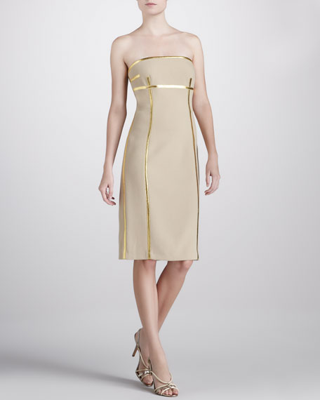Metallic-Trim Strapless Dress