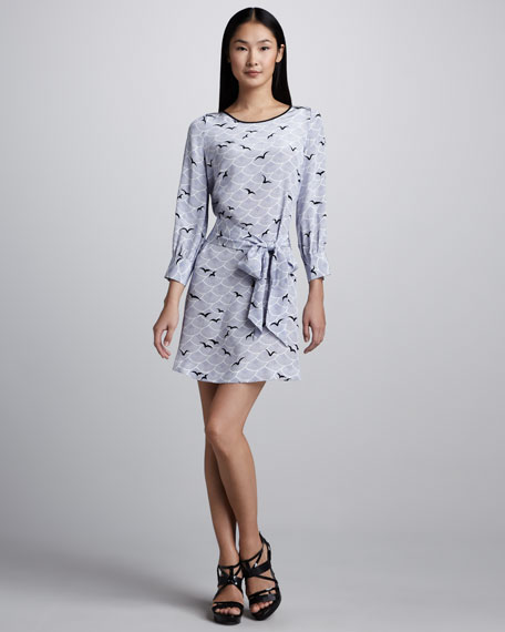 georgette bird-print dress
