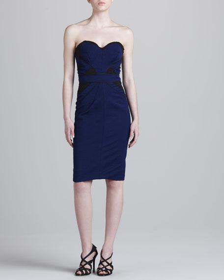 Bonded Strapless Jersey Dress, Blue