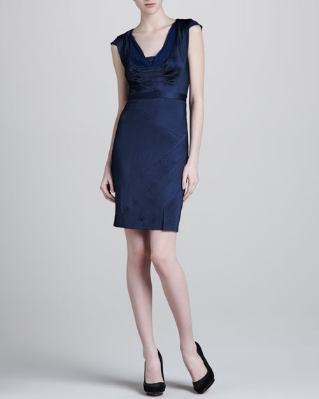 Cap-Sleeve Jersey Dress, Blue/Black