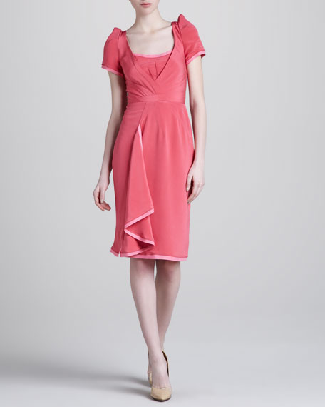 Stretch-Crepe Cap-Sleeve Dress, Carnation