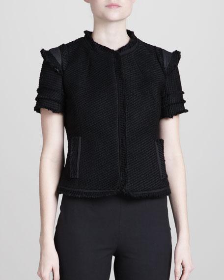 Leather-Trim Tweed Jacket, Black