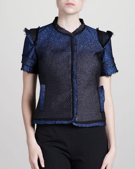 Leather-Trim Tweed Jacket, Blue Sparkle