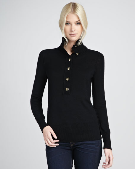 Audra Mock-Neck Sweater, Black