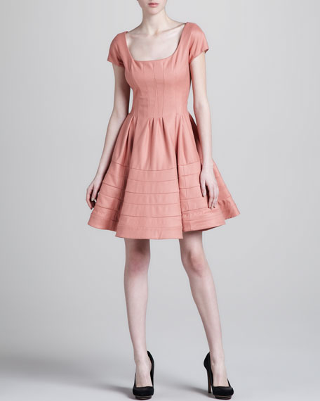 Fit-and-Flare Felt Dress, Salmon