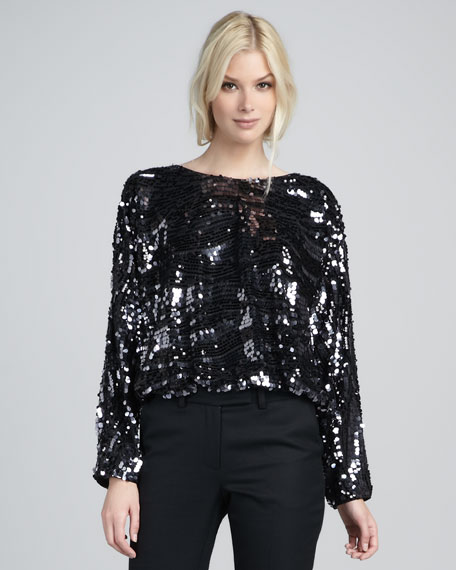 Holly Sequined Long-Sleeve Top