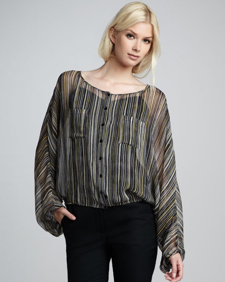 Michelle Striped Button-Front Top