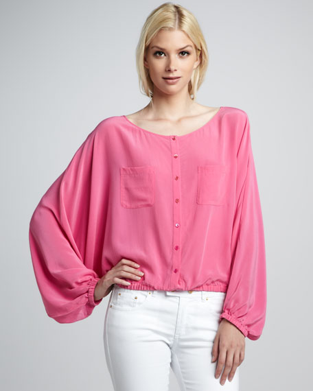 Michelle Button-Front Silk Top