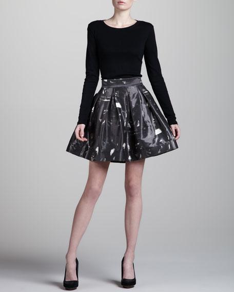 Jacquard-Print A-Line Skirt