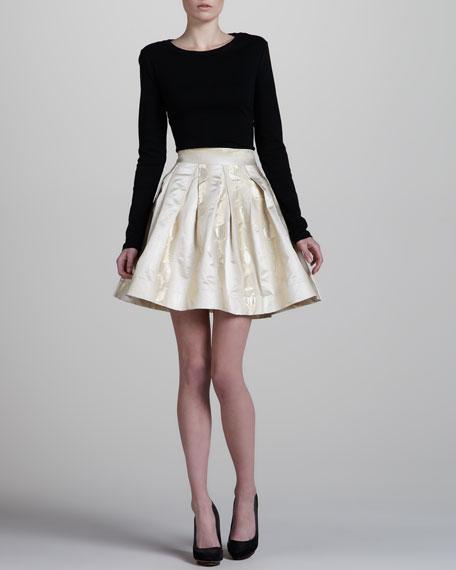 Metallic A-Line Skirt, Gold