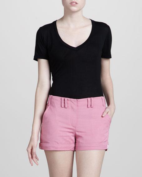 Cuffed Cotton Shorts, Carnation