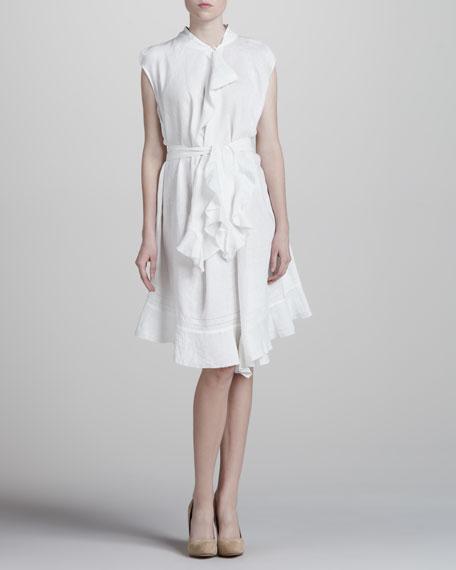 Asymmetric Cotton Dress, White