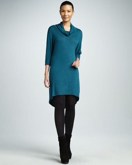 Cowl-Neck Knit Dress