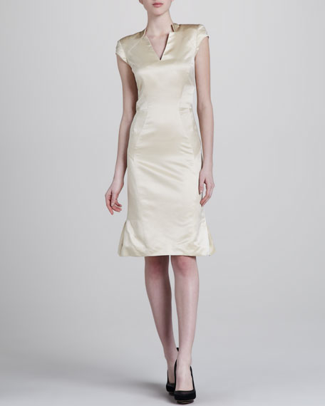 Sateen V-Neck Dress
