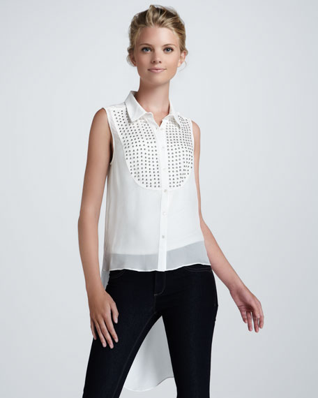 Misaski Studded Drape-Back Blouse