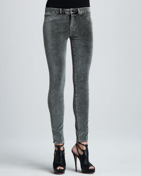 801 Washed Static Velvet Skinny Jeans