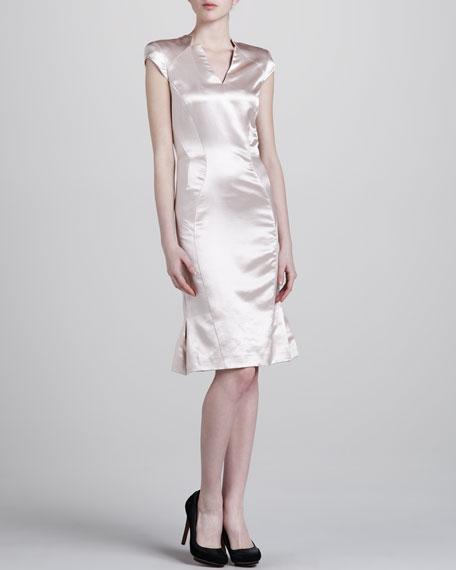 Metallic Contoured V-Neck Dress, Blush
