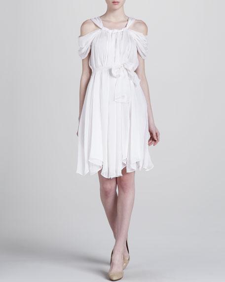 Cold-Shoulder Chiffon Dress, White