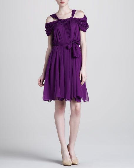 Ruched Chiffon Dress