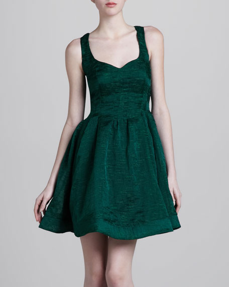 Textured Fit-and-Flare Dress, Green