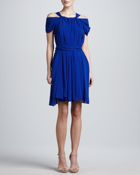 Chiffon Cold-Shoulder Dress, Cerulean