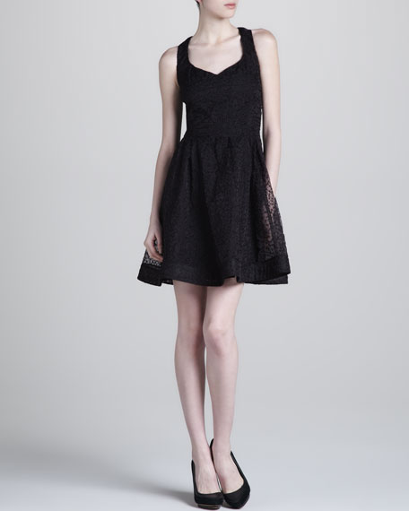 Organza Fit-and-Flare Dress