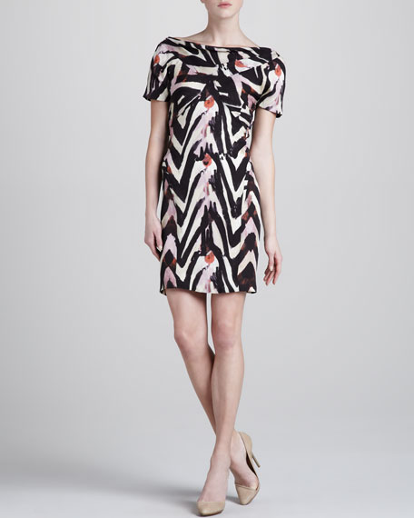 Zebra-Print Short-Sleeve Dress