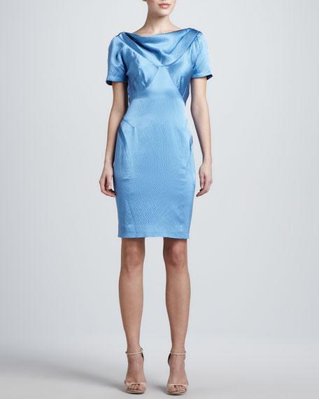 Hammered Silk Short-Sleeve Dress, Blue