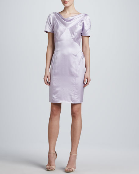 Silk Short-Sleeve Dress, Lilac Dot