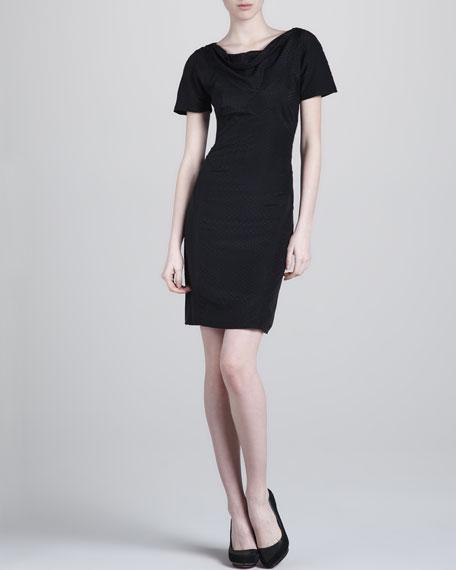 Dot-Print Silk Short-Sleeve Dress