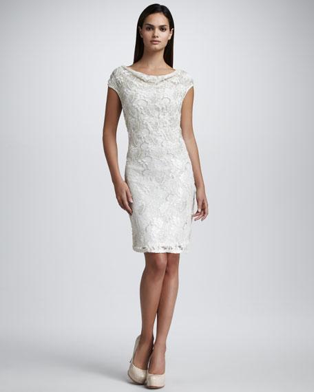 Cowl-Neck Lace Dress