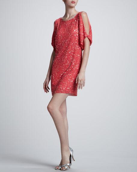 Sequin Cold-Shoulder Shift Dress, Coral