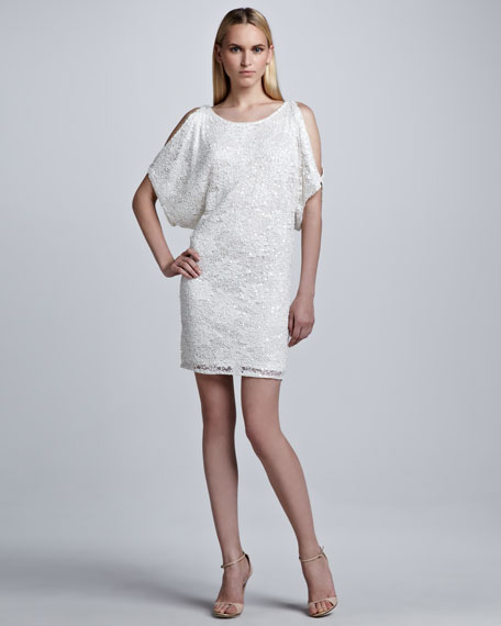 Sequined Cold Shoulder Shift Dress, White