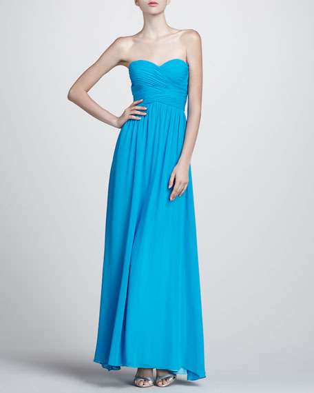 Wrapped Bodice Strapless Gown, Bright Aqua